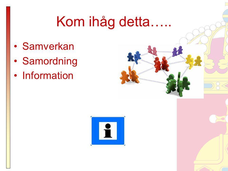 Kom ihåg detta….. Samverkan Samordning Information