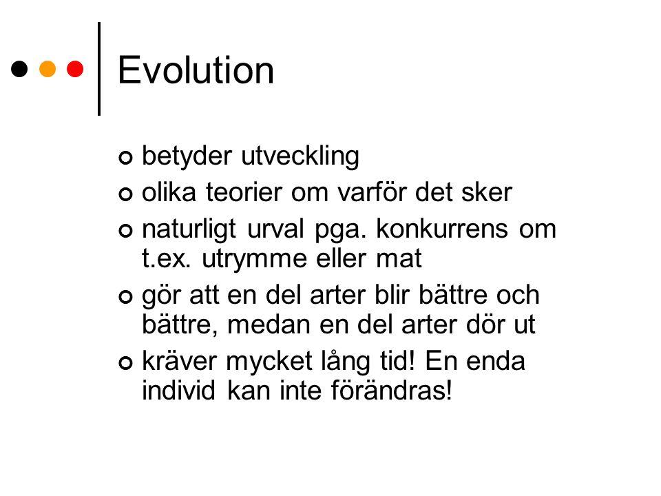 Evolution betyder utveckling olika teorier om varför det sker