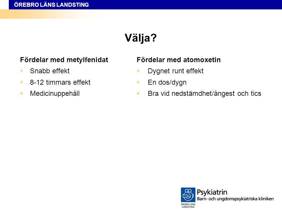 Välja Fördelar med metylfenidat Snabb effekt 8-12 timmars effekt