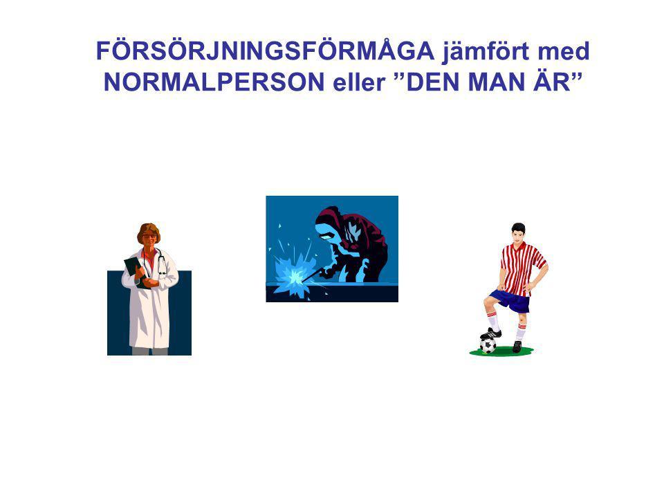 FÖRSÖRJNINGSFÖRMÅGA jämfört med NORMALPERSON eller DEN MAN ÄR