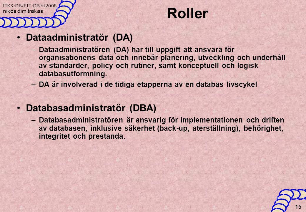 Roller Dataadministratör (DA) Databasadministratör (DBA)