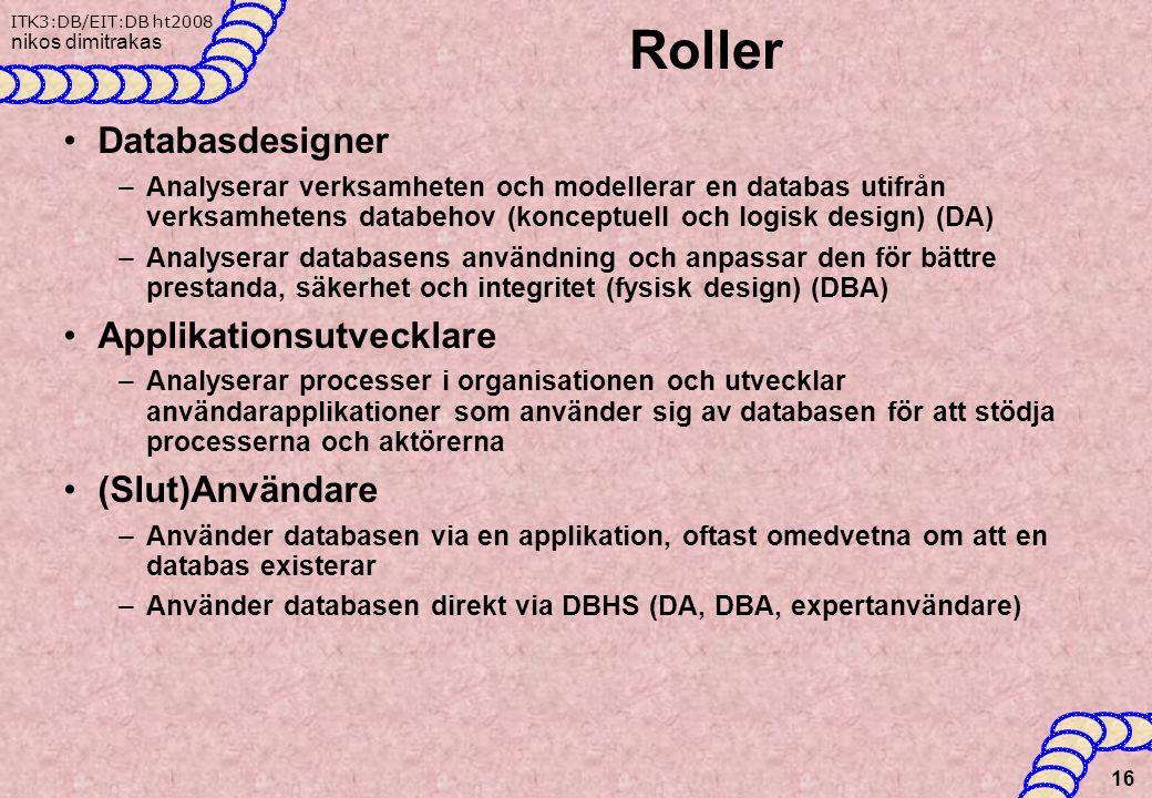Roller Databasdesigner Applikationsutvecklare (Slut)Användare