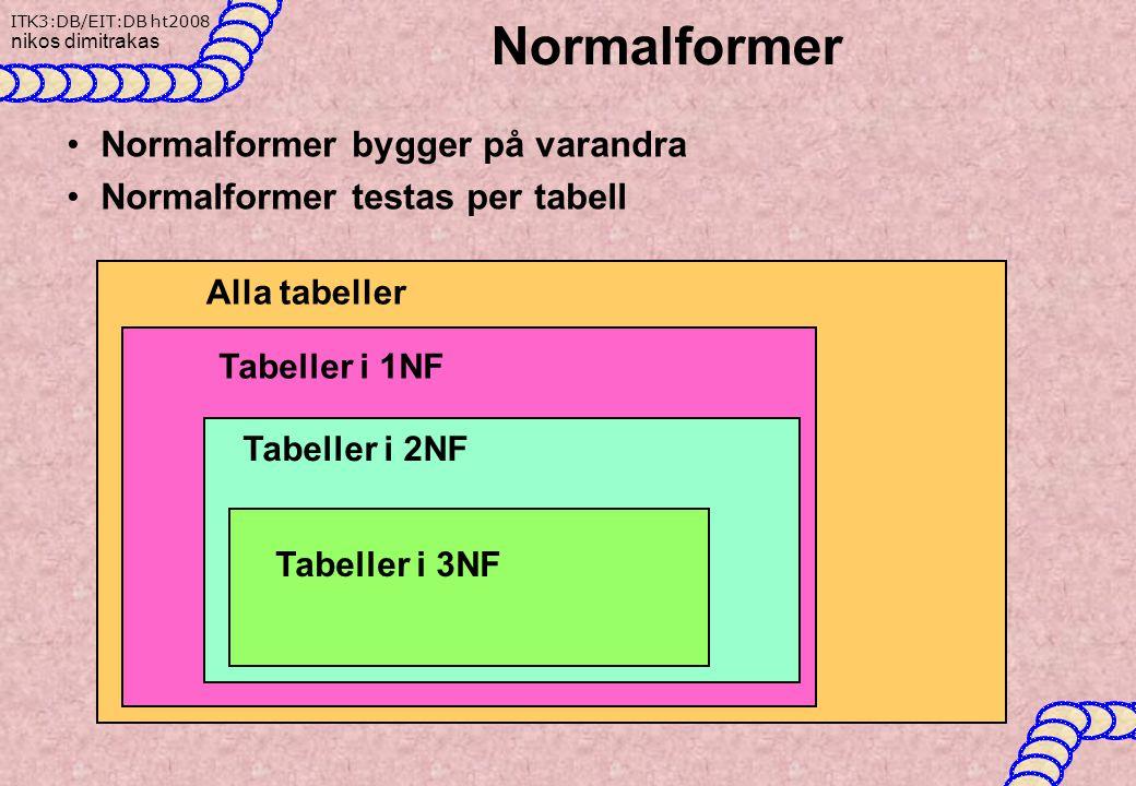 Normalformer Normalformer bygger på varandra