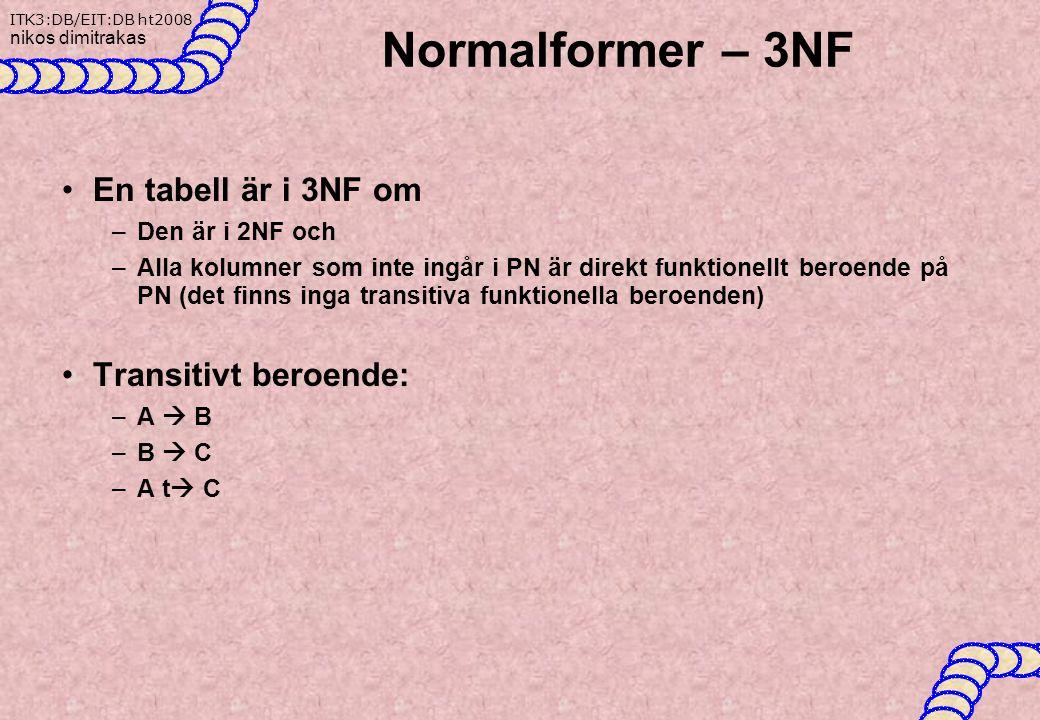 Normalformer – 3NF En tabell är i 3NF om Transitivt beroende: