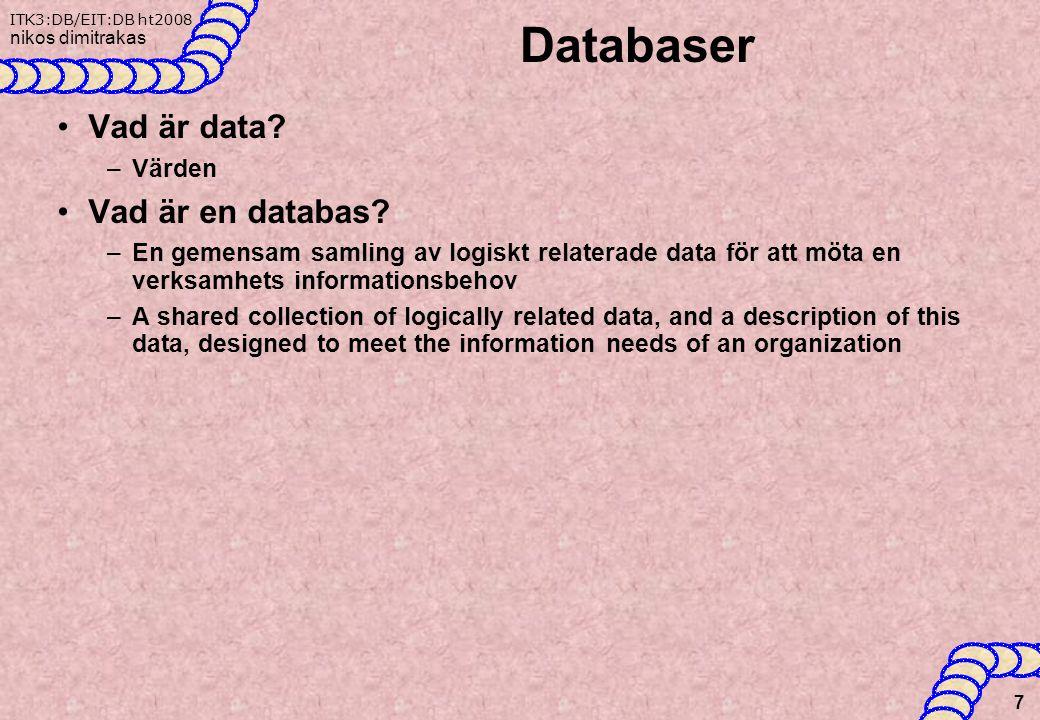 Databaser Vad är data Vad är en databas Värden