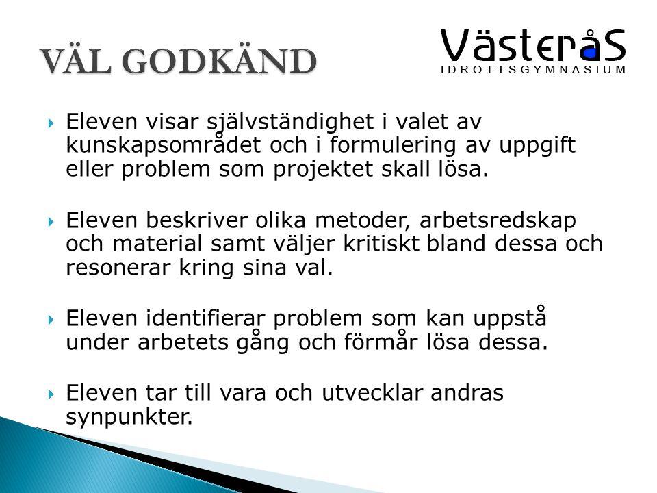 VÄL GODKÄND Eleven visar självständighet i valet av kunskapsområdet och i formulering av uppgift eller problem som projektet skall lösa.
