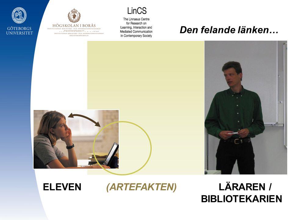 Den felande länken… ELEVEN (ARTEFAKTEN) LÄRAREN / BIBLIOTEKARIEN.
