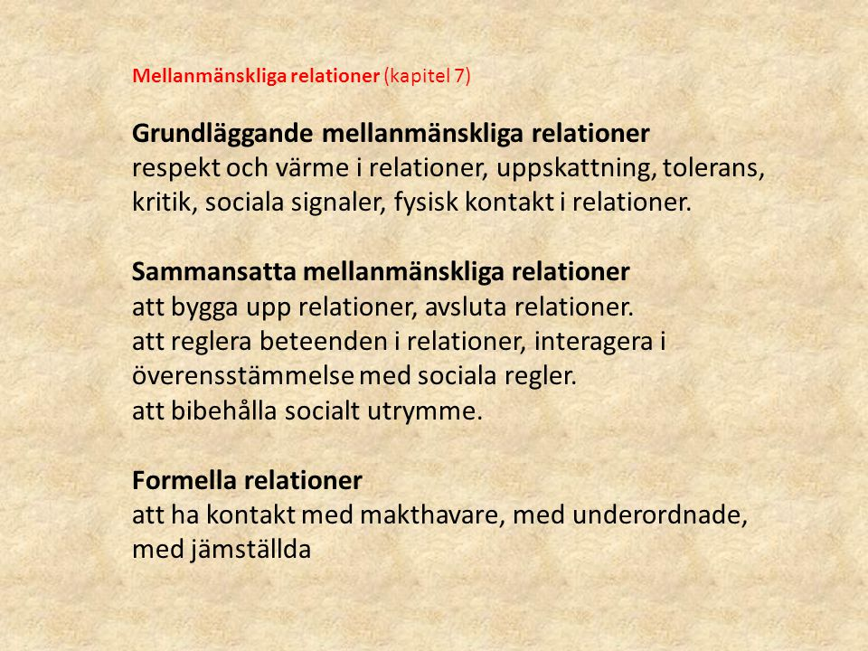 Grundläggande mellanmänskliga relationer