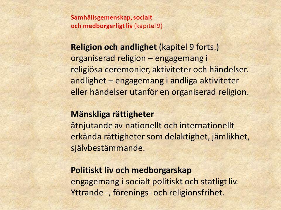 Religion och andlighet (kapitel 9 forts.)
