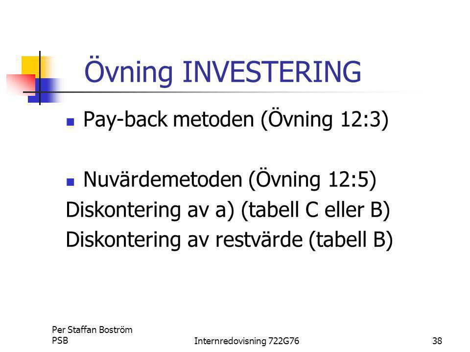 Övning INVESTERING Pay-back metoden (Övning 12:3)