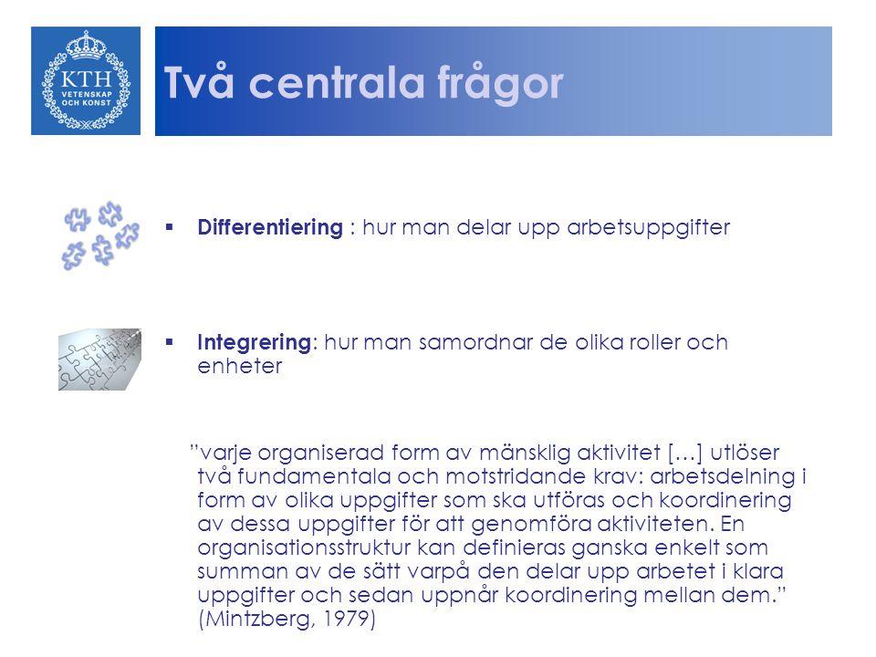 Två centrala frågor Differentiering : hur man delar upp arbetsuppgifter. Integrering: hur man samordnar de olika roller och enheter.