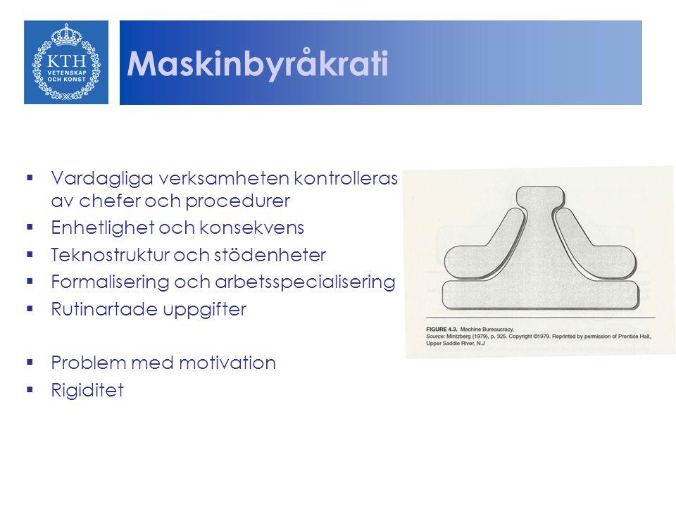 Maskinbyråkrati Vardagliga verksamheten kontrolleras av chefer och procedurer. Enhetlighet och konsekvens.