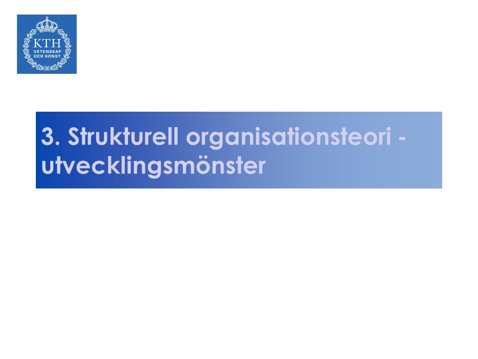 3. Strukturell organisationsteori - utvecklingsmönster