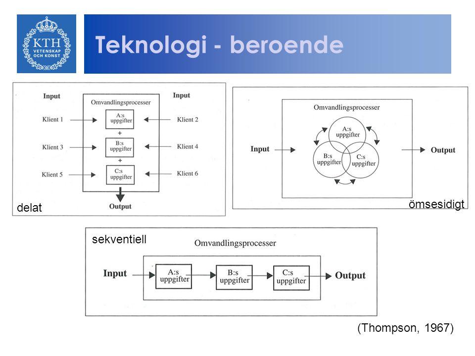 Teknologi - beroende ömsesidigt delat sekventiell (Thompson, 1967)