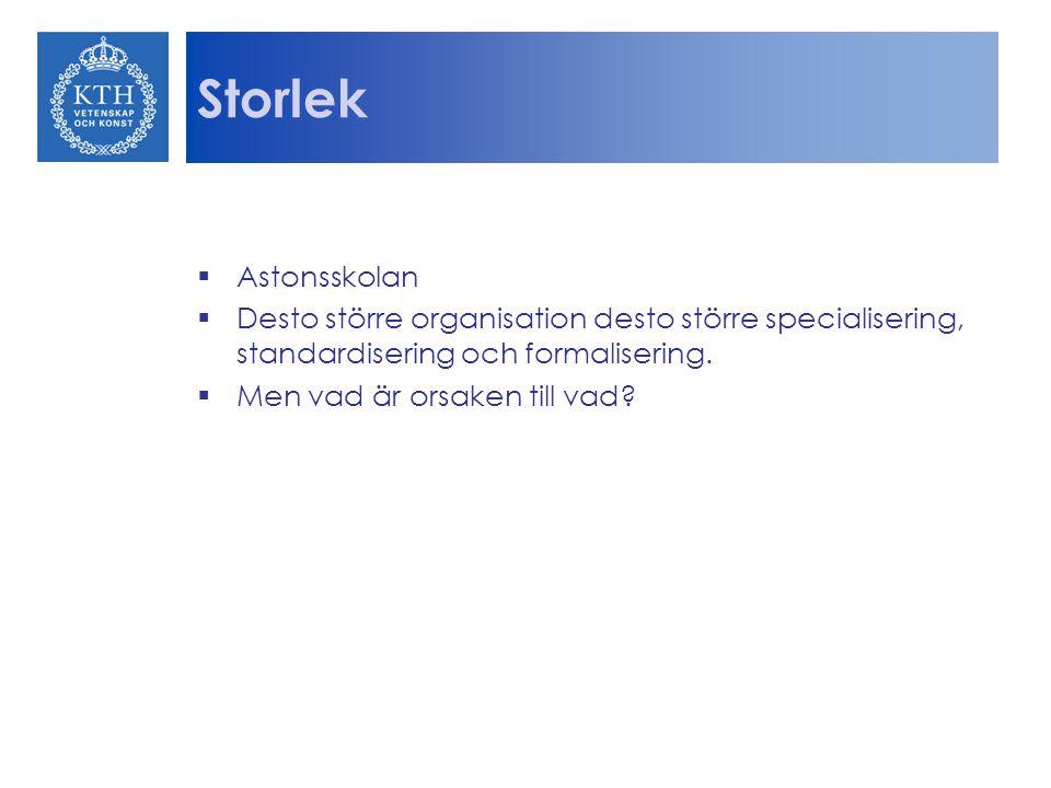 Storlek Astonsskolan. Desto större organisation desto större specialisering, standardisering och formalisering.