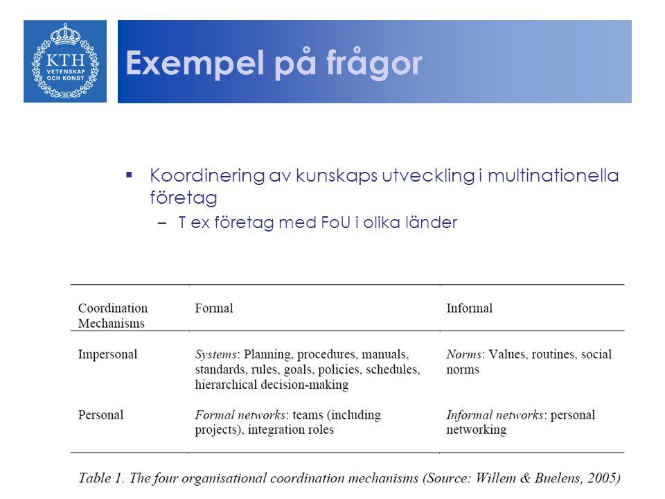 Exempel på frågor Koordinering av kunskaps utveckling i multinationella företag. T ex företag med FoU i olika länder.