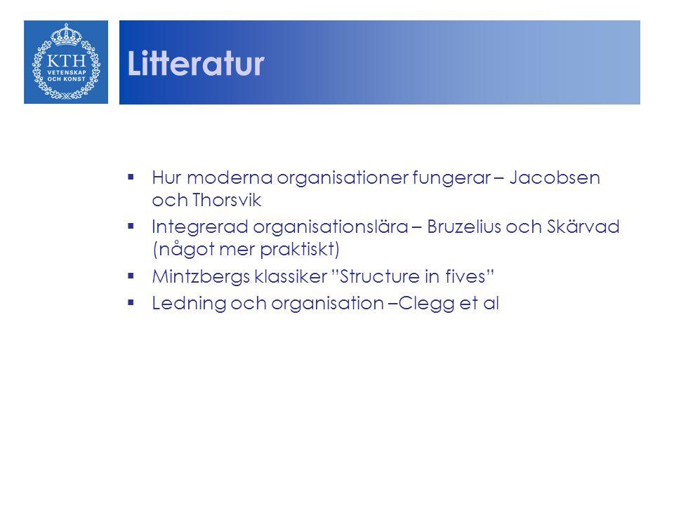 Litteratur Hur moderna organisationer fungerar – Jacobsen och Thorsvik