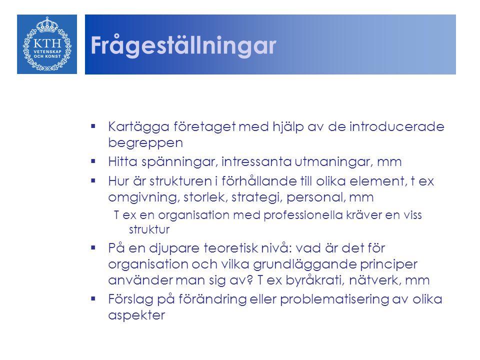 Frågeställningar Kartägga företaget med hjälp av de introducerade begreppen. Hitta spänningar, intressanta utmaningar, mm.