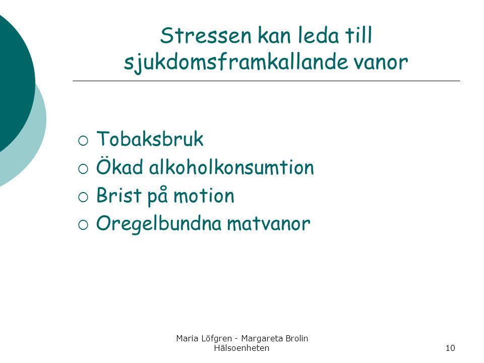 Stressen kan leda till sjukdomsframkallande vanor