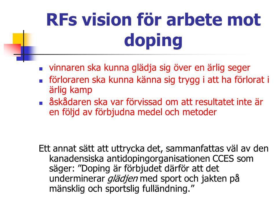 RFs vision för arbete mot doping