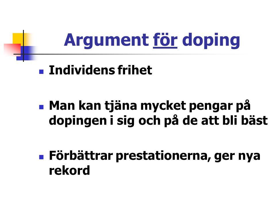 Argument för doping Individens frihet