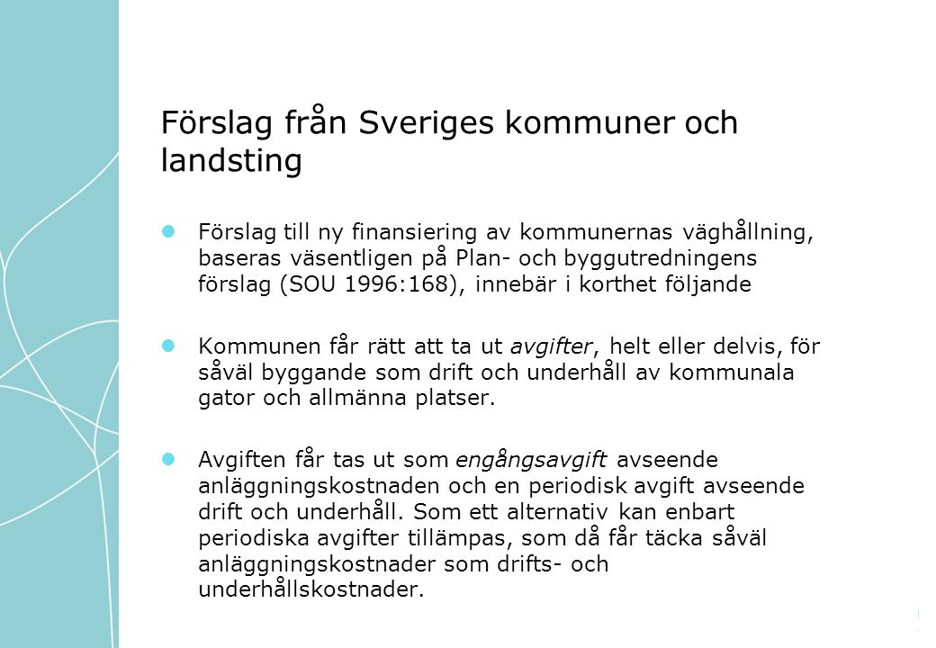 Förslag från Sveriges kommuner och landsting