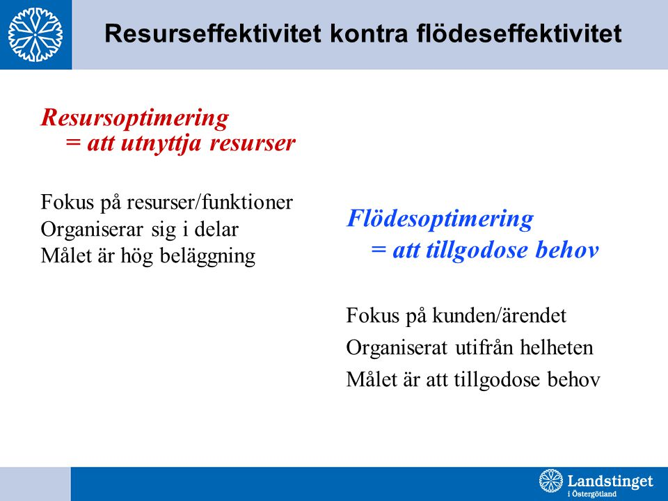 Resurseffektivitet kontra flödeseffektivitet