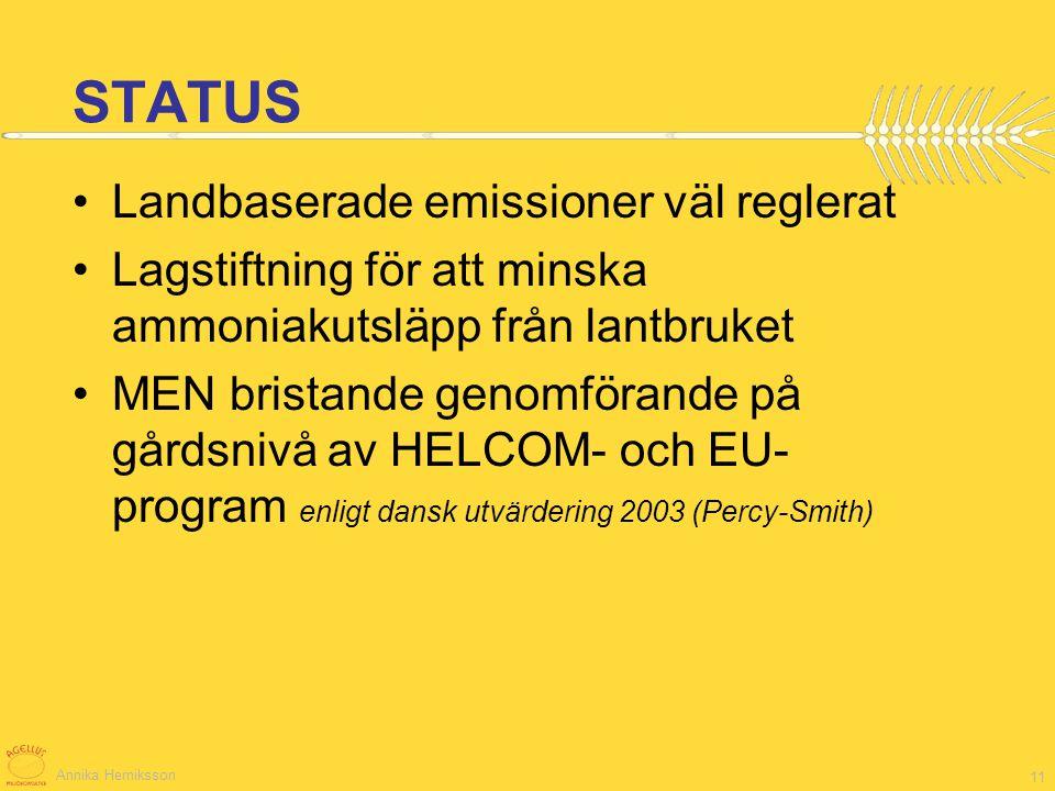 STATUS Landbaserade emissioner väl reglerat