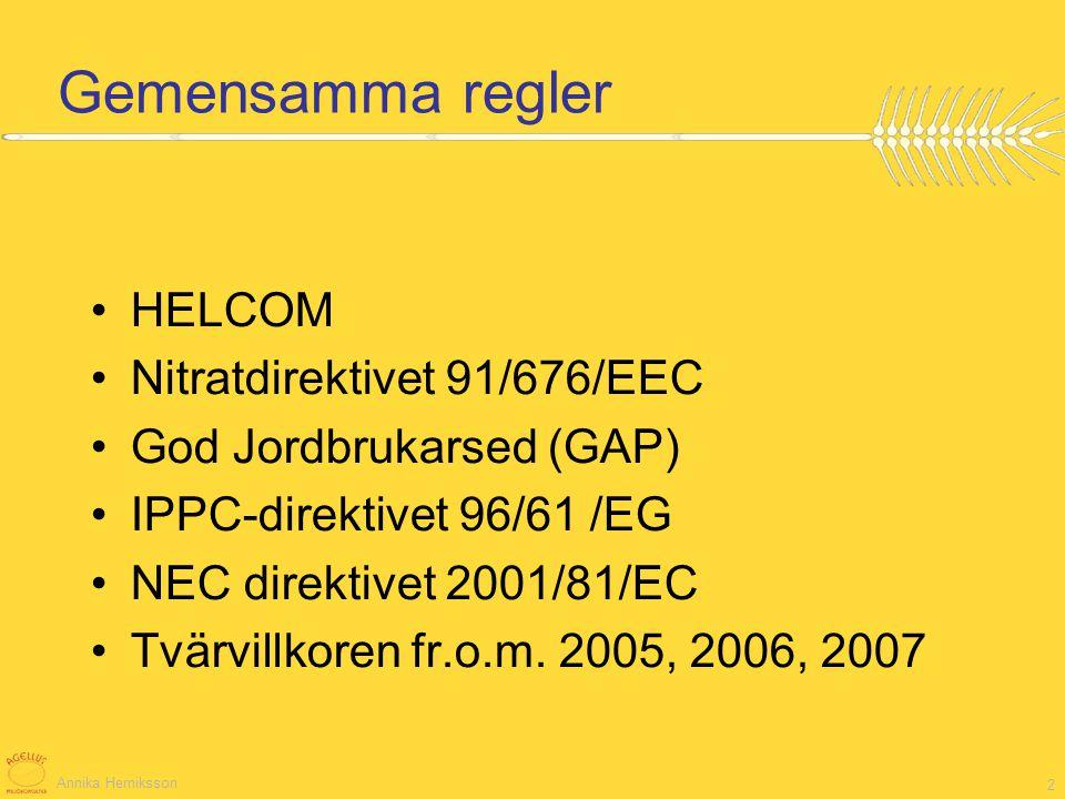 Gemensamma regler HELCOM Nitratdirektivet 91/676/EEC
