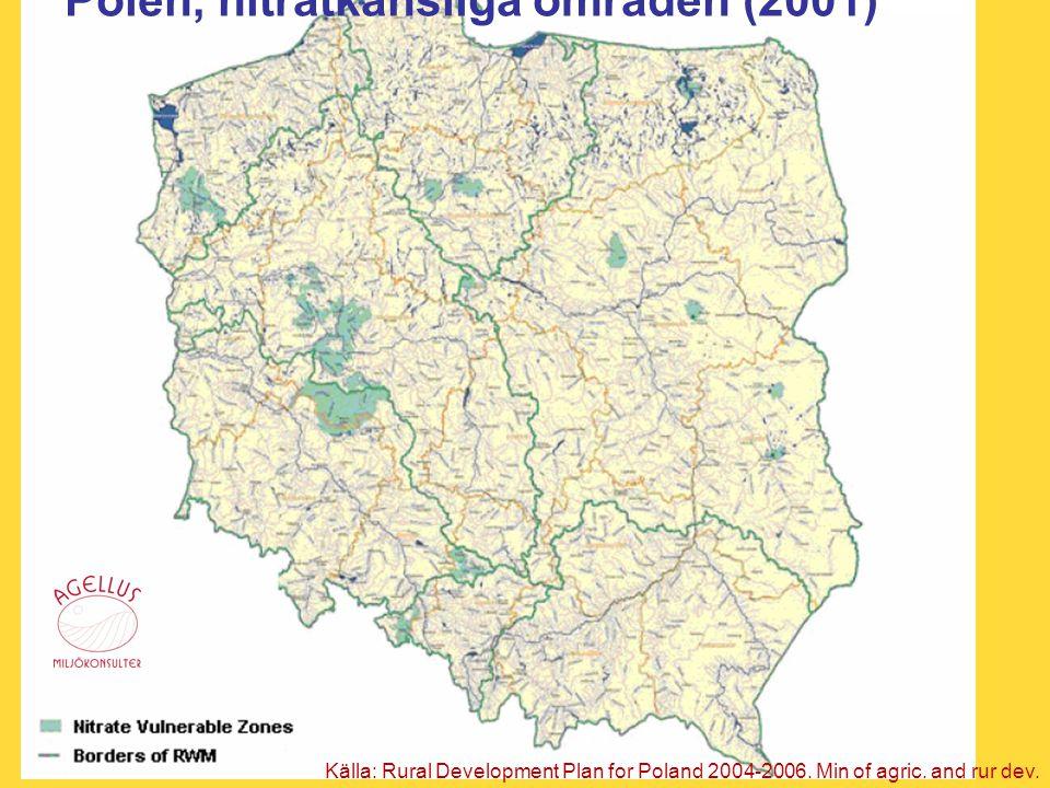 Polen, nitratkänsliga områden (2001)