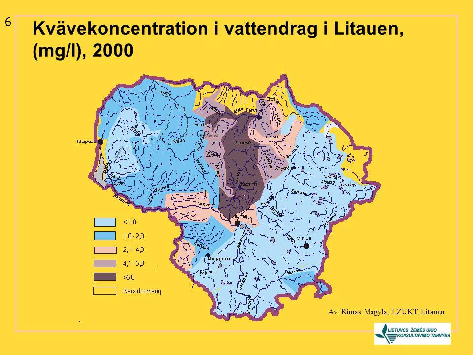 Kvävekoncentration i vattendrag i Litauen, (mg/l), 2000