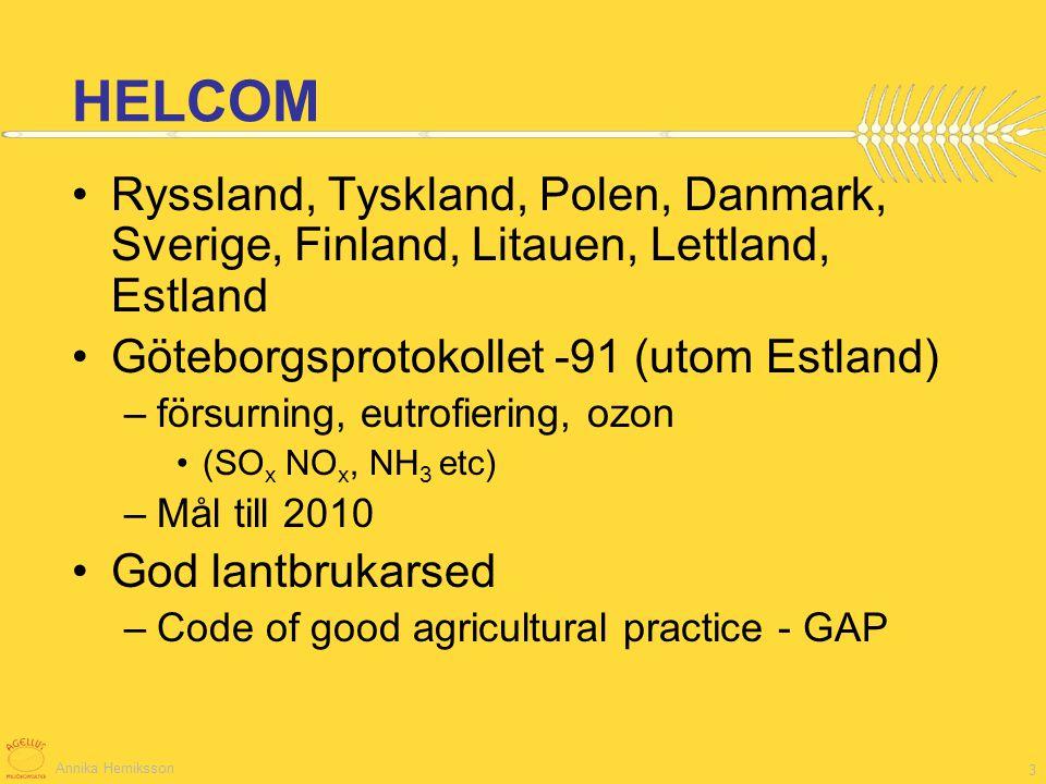 HELCOM Ryssland, Tyskland, Polen, Danmark, Sverige, Finland, Litauen, Lettland, Estland. Göteborgsprotokollet -91 (utom Estland)