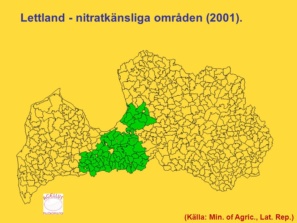 Lettland - nitratkänsliga områden (2001).