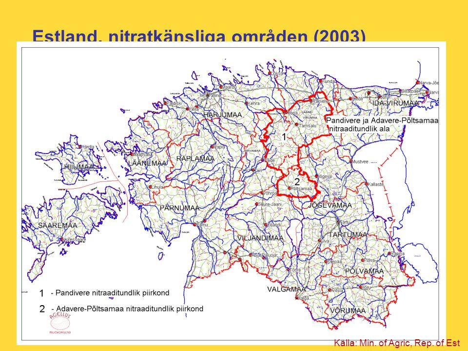 Estland, nitratkänsliga områden (2003)