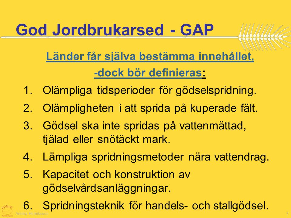 God Jordbrukarsed - GAP