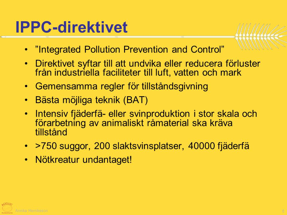 IPPC-direktivet Integrated Pollution Prevention and Control