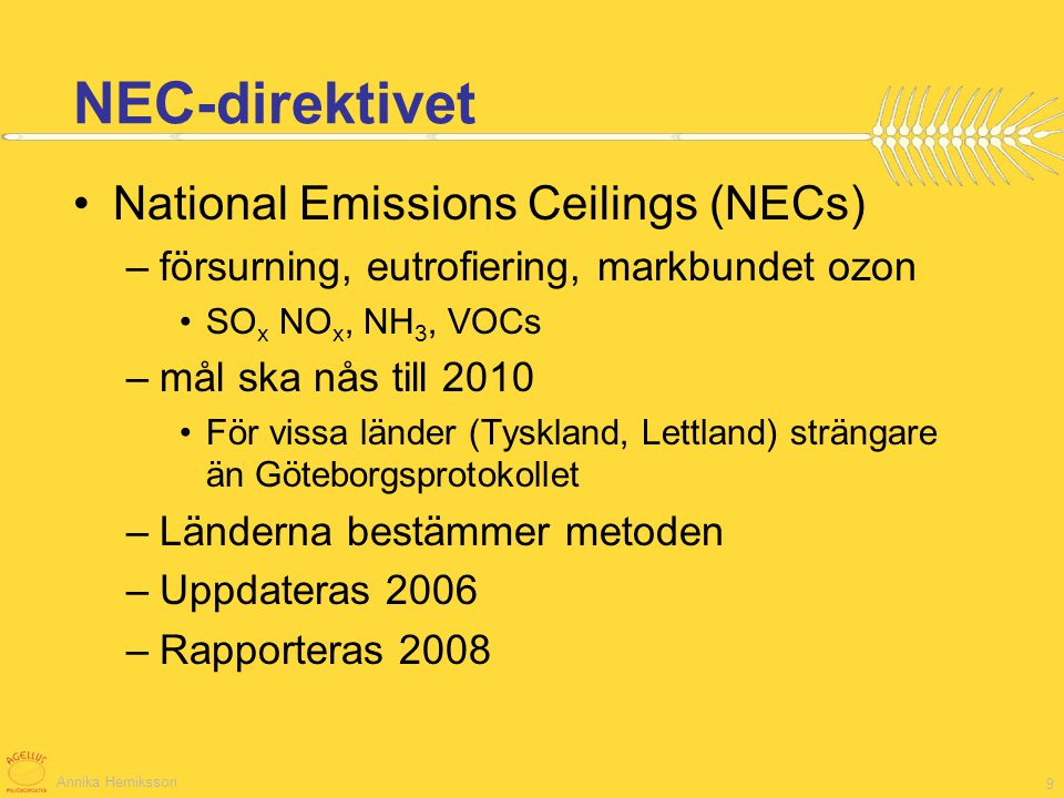 NEC-direktivet National Emissions Ceilings (NECs)