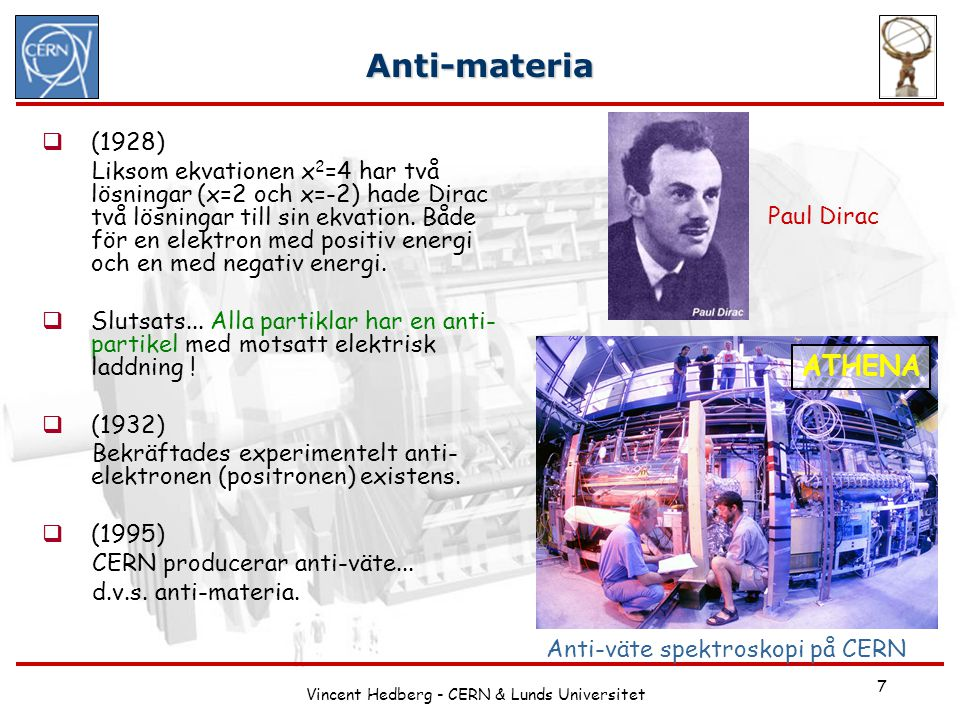 Vincent Hedberg - CERN & Lunds Universitet
