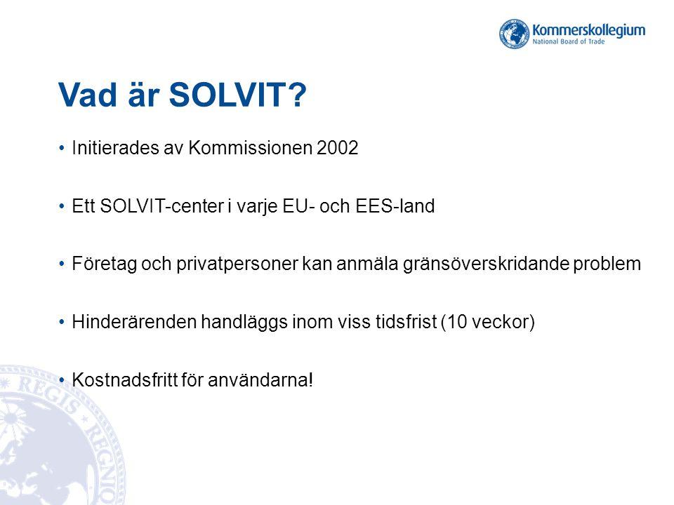 Vad är SOLVIT Initierades av Kommissionen 2002