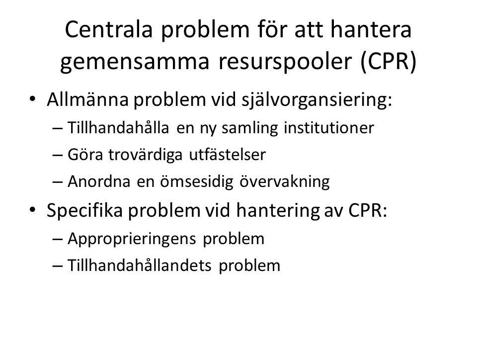 Centrala problem för att hantera gemensamma resurspooler (CPR)
