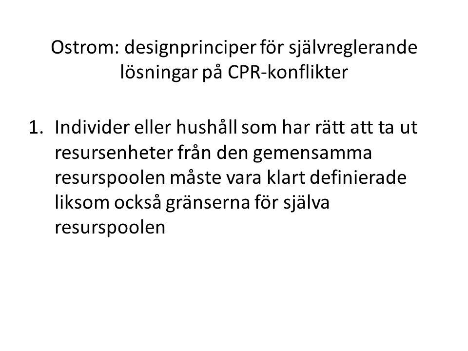 Ostrom: designprinciper för självreglerande lösningar på CPR-konflikter
