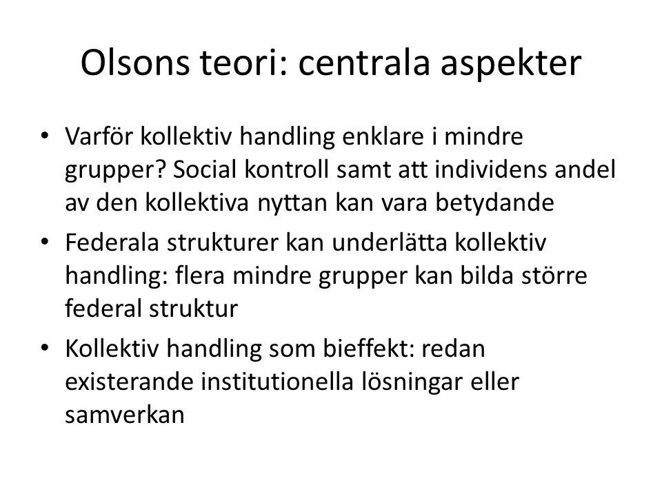Olsons teori: centrala aspekter