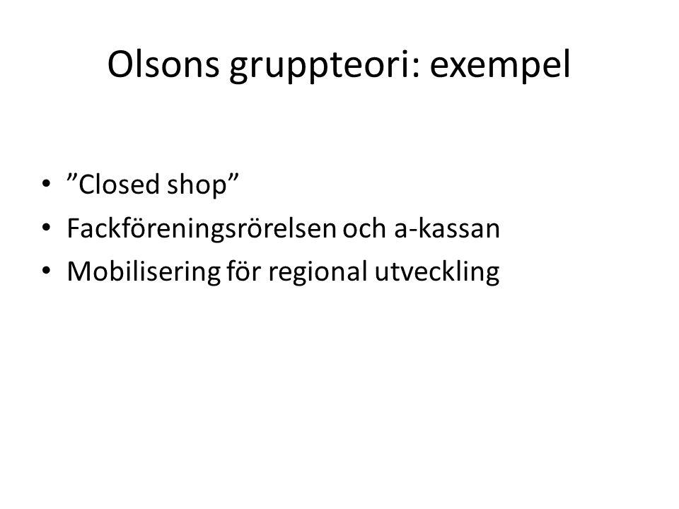 Olsons gruppteori: exempel