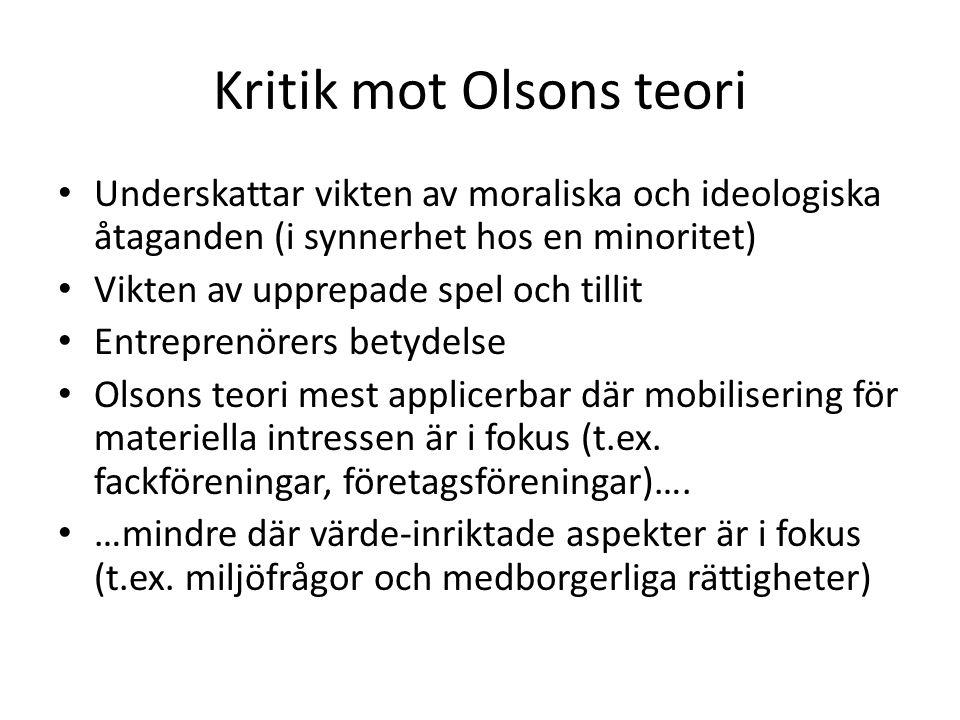 Kritik mot Olsons teori