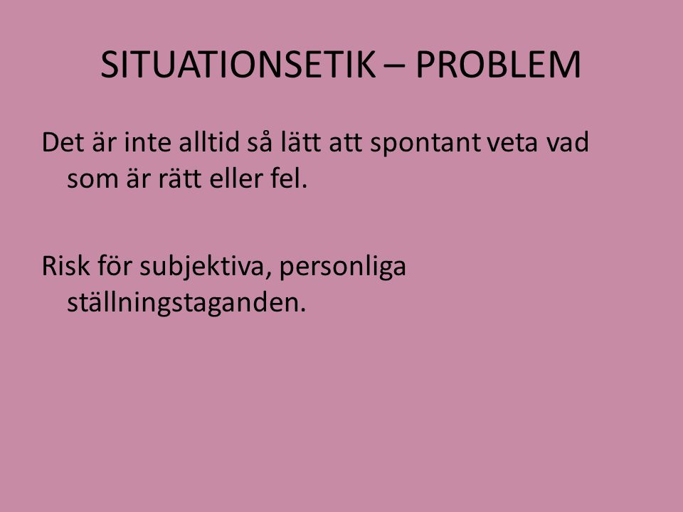 SITUATIONSETIK – PROBLEM