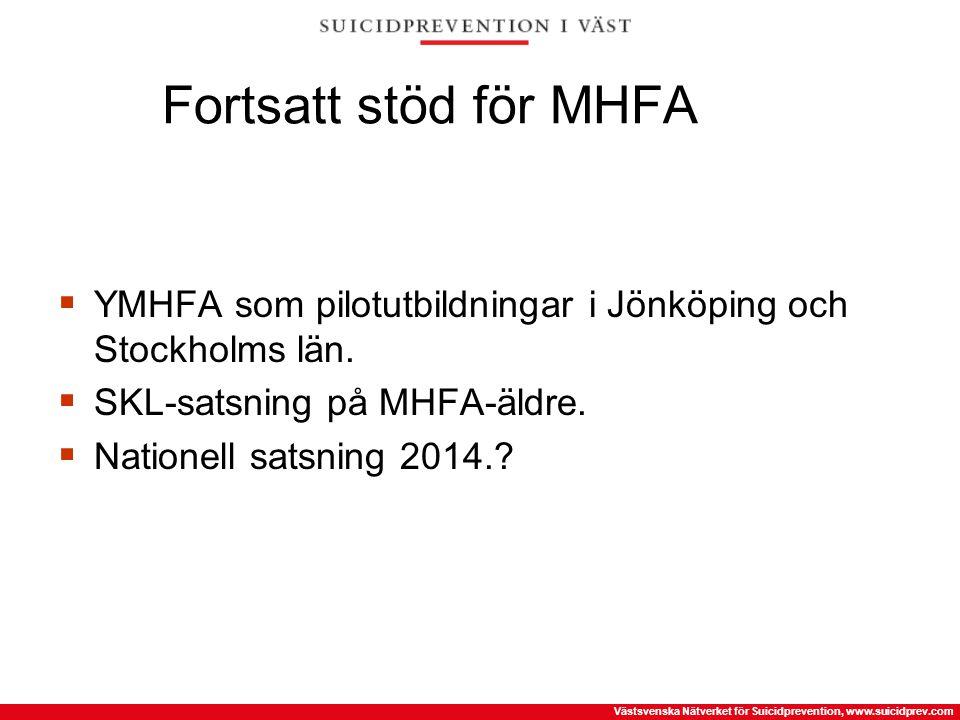 Fortsatt stöd för MHFA YMHFA som pilotutbildningar i Jönköping och Stockholms län. SKL-satsning på MHFA-äldre.