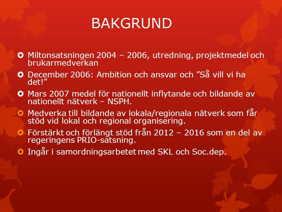 BAKGRUND Miltonsatsningen 2004 – 2006, utredning, projektmedel och brukarmedverkan. December 2006: Ambition och ansvar och Så vill vi ha det!