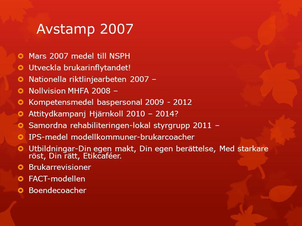 Avstamp 2007 Mars 2007 medel till NSPH Utveckla brukarinflytandet!