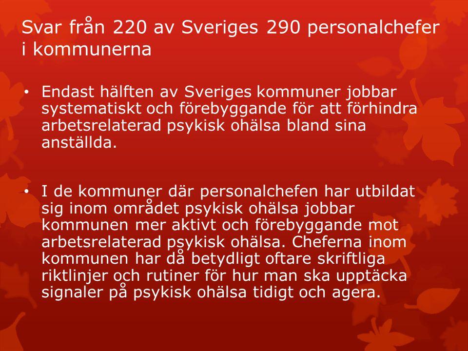 Svar från 220 av Sveriges 290 personalchefer i kommunerna