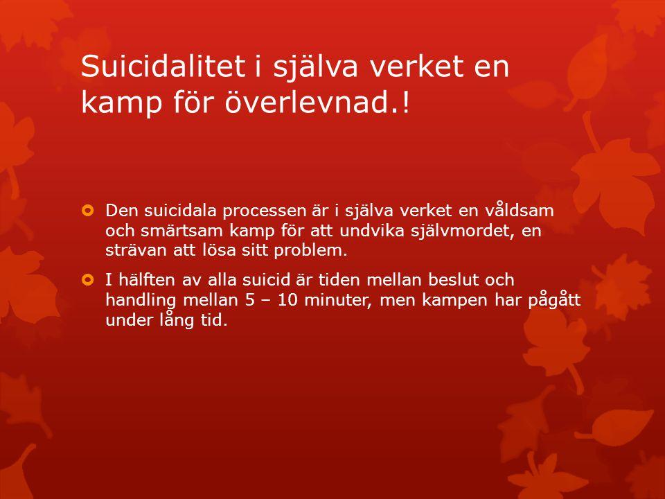 Suicidalitet i själva verket en kamp för överlevnad.!